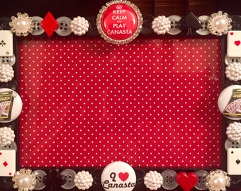 Canasta button picture frame
