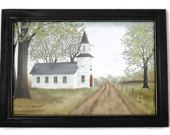 Little Country Church House, Billy Jacobs, Church Picture, Art Print, Wall Hanging, Handmade, 21X15, Custom Wood Frame, Made in the USA