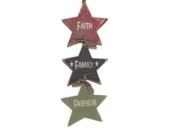 Primitive Star Swag, 'Faith Family Friends Star Swag', Wall Hanging, Home Decor, Country Decor, Handmade, Real Birch Wood, Made in USA