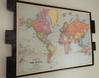 World Map on Reclaimed Wood
