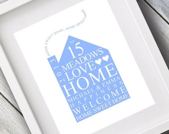 Personalised Family Print / New Home Gift Typography Bespoke Art Personalized