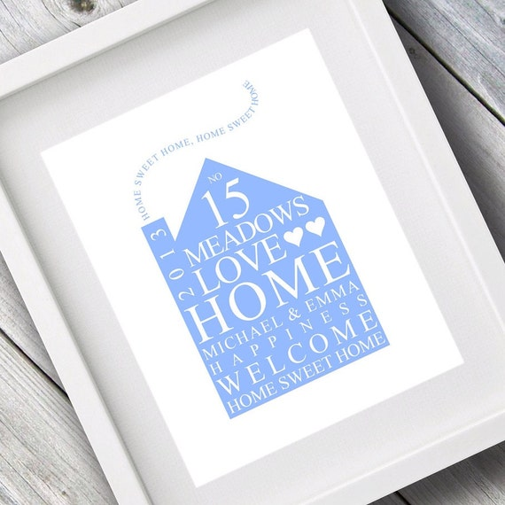 Personalised Home Is Where New Home Gift Print By: Personalised Family Print / New Home Gift By