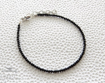 Black Spinel gemstone bracelet with sterling silver clasp | small bead bracelet genuine tiny