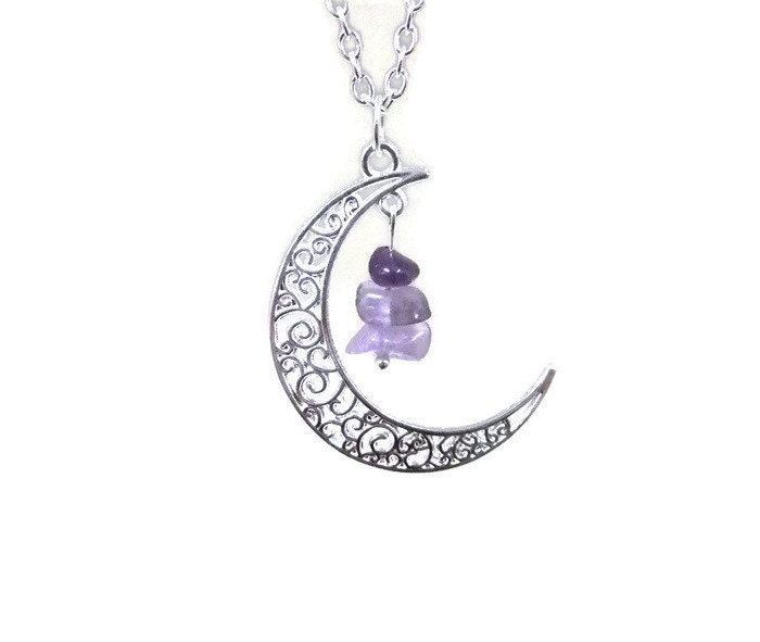 silver moon and amethyst necklace crescent moon necklace