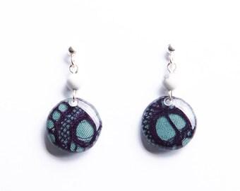 Boucles d'oreille dentelle violette - Argent 925
