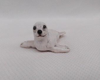 White Harp Seal miniature seal pup terrarium shelf sitter ceramic Pagophilus groenlandicus