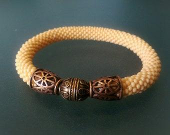 """Bead Crochet Bracelet """"Vesna"""" (Elegant Bracelet, Beaded Bracelet)"""