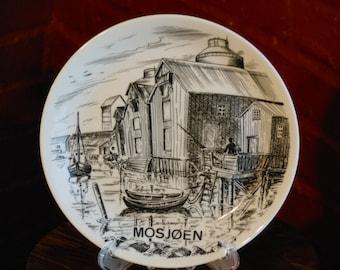 Drawing of Mosjoen Docks on a Porcelain Plate