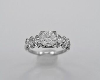 Antique Engagement Ring 1.02ct. Diamond & Platinum Art Deco - J35964