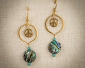 Papua shell and peace sign earrings. 24k vermeil hoops. Turquoise crystals. 14k gold fill ear wires.  FREE SHIPPING