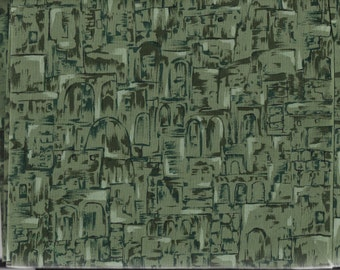 Tonal Quilt Fabric - Roman Villages - Abstract Style in Shades of Green - Benartex - OOP - BTHY