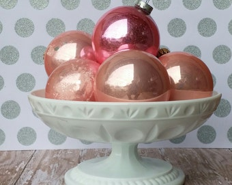Vintage Milk Glass Pedestal Fruit Dish Candy Bowl