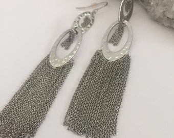 Disco Silver Fringe Earrings