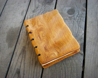 Handmade carved oak wood cover journal  / natural finish / ready to ship