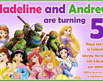 TMNT Birthday Invitation, disney princess Birthday Invitation, twins birthday invitation,siblings invitation - Digital file