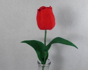 Red Felt Tulip Made-To=Order - Artificial Spring Flower on a Stem - Felt Flower - Artificial Flower  Artificial Tulip - Fake Tulip