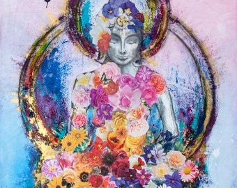 Buddha and the Butterfly  mixed media collage giclee print