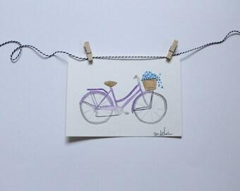 Original Watercolor Bicycle Painting, Watercolor Painting, Bicycle Print, Bicycle art, Bicycle Wall Art, Bicycle Basket, Wall Art, Gallery