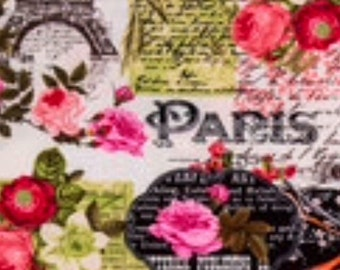 Bonjour Paris Eiffel Tower Fabric BTY 100% Cotton Quilting Apparel Crafts Home decor