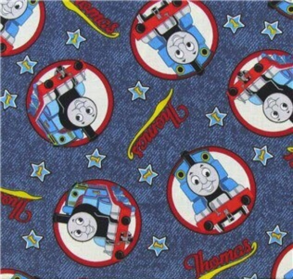 Thomas the train fabric 100 cotton quilting apparel crafts for Train print fabric