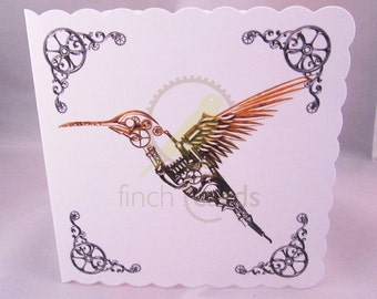 Steampunk Hummingbird Blank Card, Hummingbird Card, Bird Card, Steampunk Card, UK