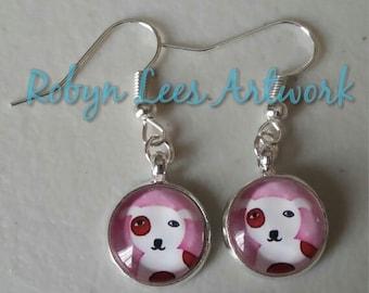Pink Cartoon Beagle Spaniel Dog Glass Cabochon Earrings on Silver Plated Earring Hooks