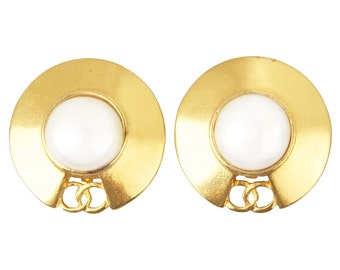 Vintage Chanel Faux Pearl Disk Earrings