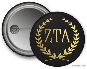 ZTA Zeta Tau Alpha Wreath Sorority Greek Button