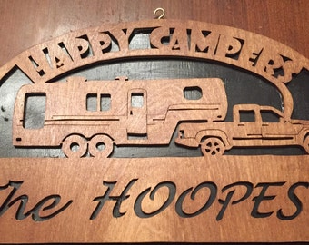 SALE - Personalized Scroll Saw - Wooden 5th Wheel Happy Camper RV Sign (#101)