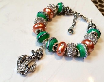 Anchor Bracelet Pandora Style Coral Green