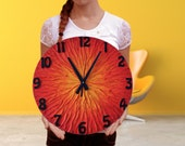 Large SUN WALL CLOCK with number Unique modern design clock orange red home decor