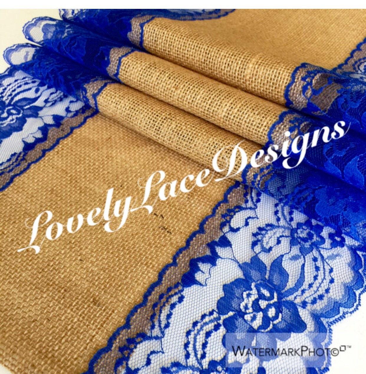 ROYAL BLUE WEDDINGS/ Burlap Table Runner Royal Blue Lace