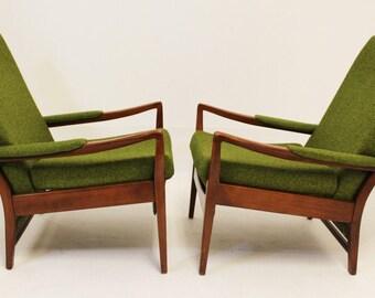 Mid Century Modern Pair of Cintique Walnut Chairs English Larsen Style