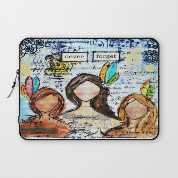 Laptop Sleeve: Mixed Media Art by Croppin' Spree