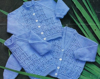 baby cardigan and jumper set vintage knitting pattern PDF instant download