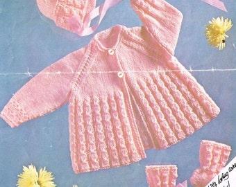 baby matinee coat bonnet set vintage knitting pattern PDF instant download