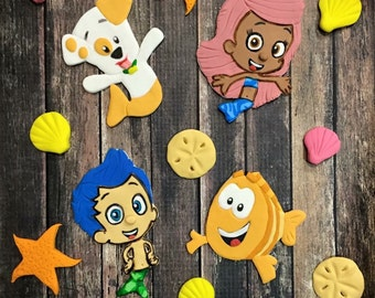 Bubble guppies cake decorations /cupcake toppers (fondant/gumpaste) (Sold separately)
