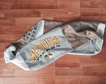 One of a Kind Upcycled University of Missouri Infinity Scarf - Made from TShirts