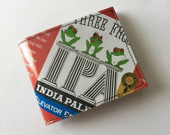 Upcycled Beer Wallet / Elevator Brewing Three Frogs IPA