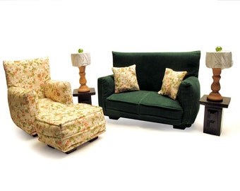 Barbie Doll Living Room Furniture 9-PC Play Set -1:6 scale-Dark Green w/Beige Flower print-works with any Blythe and 11 inch fashion doll