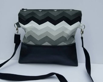 Gray Chevron Fold Over Bag/Vegan Leather Foldover Bag/Oversize Clutch/Foldover Purse with Adjustable strap/Foldover Crossbody Bag