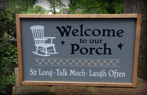 Country porch sign welcome to our porch by for Country porch coupon code
