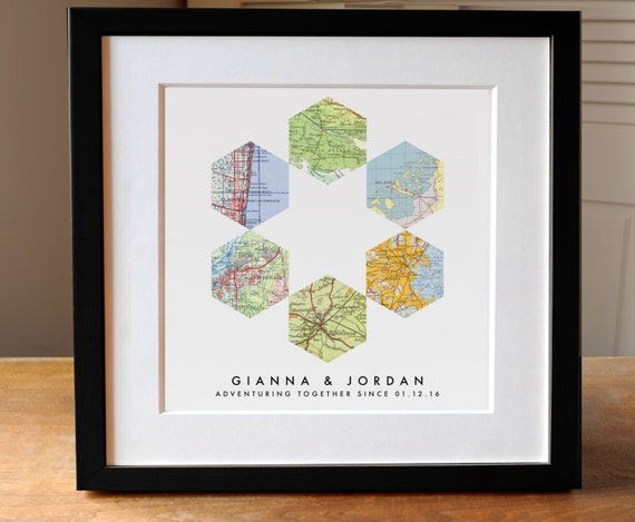 Map Art Wedding Gift : Geometric Map Art Wedding Gift, 6 Custom Maps, Wedding Gift ...