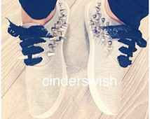 Grey Spiked plimsolls / Spiked sneakers / womens plimsolls / skull shoes / skull plimsols / grey shoes / lace ribbon