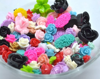 Mix Resin Cabochon, Mix Colour,  Roses Cabochon, Flower Cabochon, Embellishment, Scrap booking, Wedding , Cards Making, Jewellery Making
