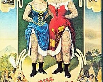 1904 German Circus Tattooed Ladies Poster A3 / A2 Print