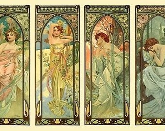 Times Of The Day Alphonse Mucha Lovely Art Nouveau 4 Panel Poster A3/A2  Re Print