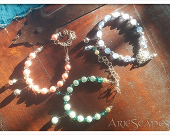 Row Counter Bracelet - Teal Pearls