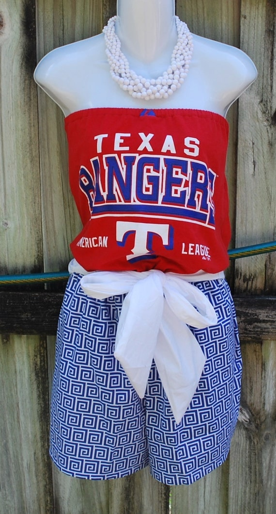 Texas rangers game day romper jumper jumpsuit with sash for Same day custom t shirts nyc