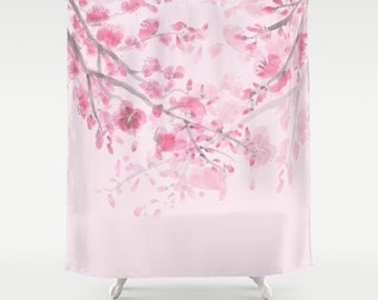 Floral heart shower curtain rose for her heart for Pink and gold bathroom accessories